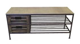 """Скамья для прихожей на 2 ящика и 2 полки, линия """"Орех"""" 005/DP12/1413"""
