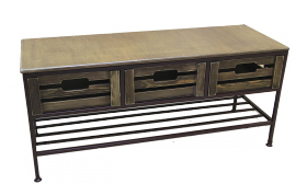 """Скамья для прихожей на 1 полку и 3 ящика, линия """"Орех"""" 005/DP13/1414"""