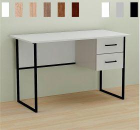 Стол офисный с 2 ящиками Dakota-2, Цвет металла - черный. Цвет ДСП Белое, фото