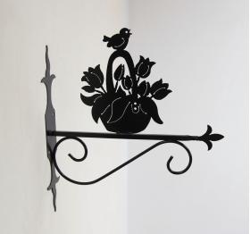 """Декоративный кронштейн для подвесных цветов """"Корзинка с цветами"""" 001/КPL/1580"""