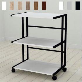 Офисная напольная этажерка на колесиках Камила-3. Цвет металла - черный. Цвет ДСП Белое, фото