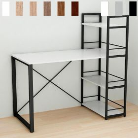 стол письменный Коннект,-6. Цвет металла - черный. Цвет ДСП Белое, фото