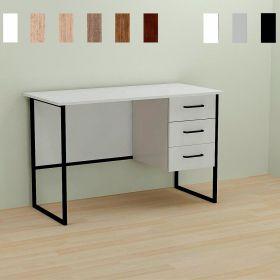 Стол офисный на 3 ящика GARI-3, Цвет металла - черный. Цвет ДСП Белое, фото