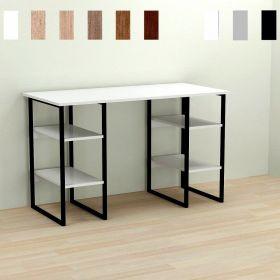 Стол офисный Karen-4, Цвет металла - черный. Цвет ДСП Белое, фото