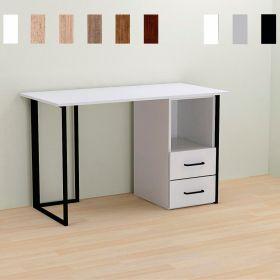 Стол компьютерный c тумбой на 2 ящика Otto-2, Цвет металла - черный. Цвет ДСП Белое, фото