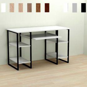 Стол офисный Tim-5, Цвет металла - черный. Цвет ДСП Белое, фото