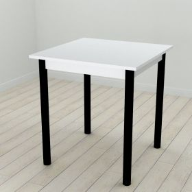 Стол кухонный Agatha-50, Цвет металла - черный. Цвет ДСП Белое, фото
