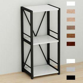 этажерка Коннект-334 в стиле лофт, цвет основания черный, ДСП Белый, фото