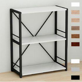 этажерка Коннект-360 в стиле лофт, цвет основания черный, ДСП Белый, фото