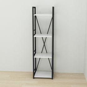 стеллаж в стиле лофт, Коннект 434, цвет металла черный, ДСП белый,фото 2