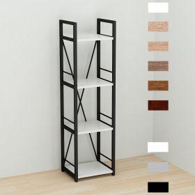 этажерка Коннект-434 в стиле лофт, цвет основания черный, ДСП Белый, фото