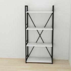 стеллаж в стиле лофт, Коннект 460, цвет металла черный, ДСП белый,фото 2