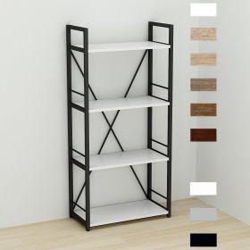 этажерка Коннект-460 в стиле лофт, цвет основания черный, ДСП Белый, фото