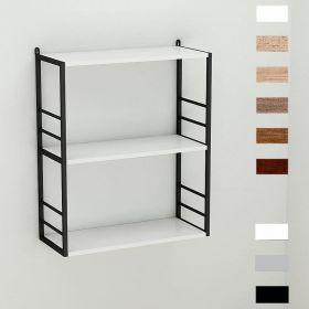 Полка для книг Стим-2 в стиле лофт, цвет основания чёрный, ДСП Белый, фото