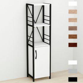 шкаф пенал Коннект-334 в стиле лофт, цвет основания черный, ДСП Белый, фото