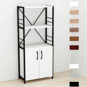шкаф пенал Коннект-360 в стиле лофт, цвет основания черный, ДСП Белый, фото