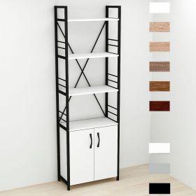 шкаф пенал Коннект-460 в стиле лофт, цвет основания черный, ДСП Белый, фото
