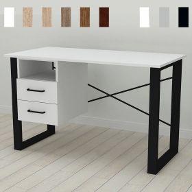 Стол офисный с тумбой Оскар-21, Цвет металла - черный. Цвет ДСП Белое, фото