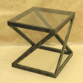 Стол кованый с квадратной стеклянной столешницей 005/ST14S/1529