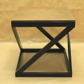 Стол кованый с квадратной деревянной столешницей 005/ST14D/1530