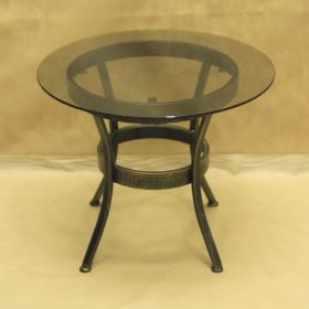 Стол кованый с круглой стеклянной столешницей малый 005/ST11S/1561