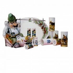 """Музыкальная фарфоровая бутылка в наборе """"Охотник с кабаном"""" 14 предметов"""