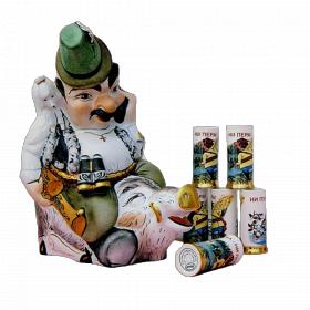 """Музыкальная фарфоровая бутылка в наборе """"Охотник с кабаном"""" 8 предметов"""