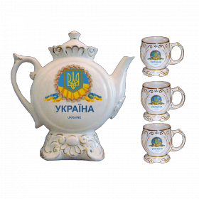 """Музыкальный фарфоровый чайный сервиз """"Украина. Геральдика"""""""