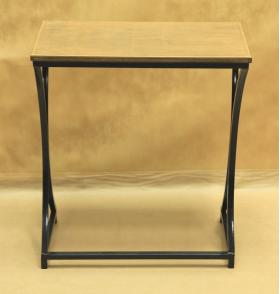 Стол кованый прямоугольный с деревянной столешницей большой 005/STK03S/1574
