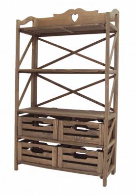 Этажерка деревянная на 4 ящика и 3 полки
