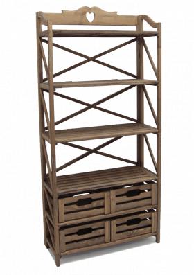 Этажерка деревянная на 4 ящика и 4 полки