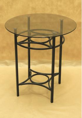 Стол кованый с круглой стеклянной столешницей малый 005/ST06SS/1476