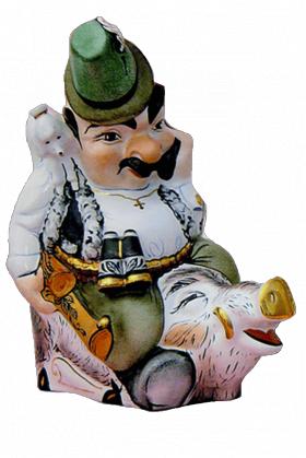 """Музыкальная фарфоровая бутылка в наборе """"Охотник с кабаном"""" 14 предметов + шампур"""