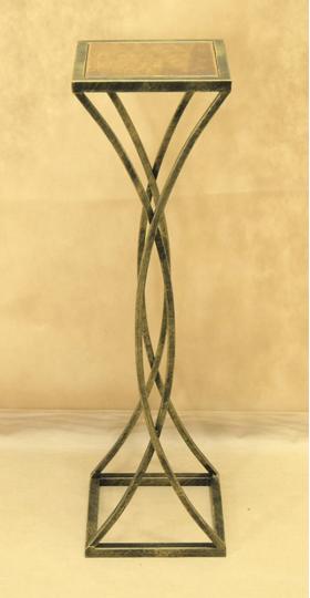 Стол кованый с квадратной деревянной столешницей малый 005/STK04S/1578