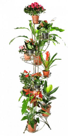 Напольная подставка для цветов на 12 вазонов Спираль 12