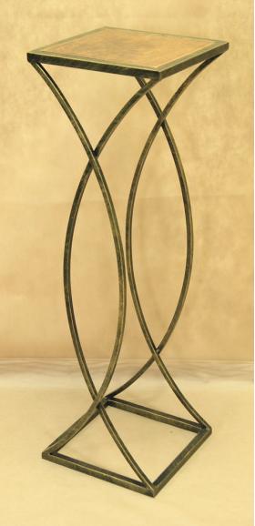 Стол кованый с квадратной деревянной столешницей средний 005/STK04M/1590